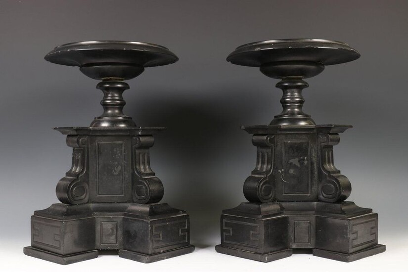 Pair of black marble decorative coupes, late 19th...
