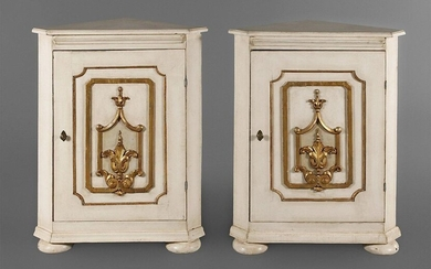Pair of corner cupboards in baroque style