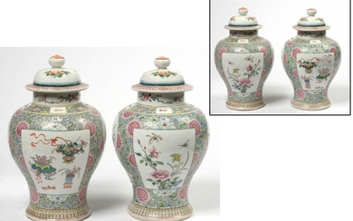 Pair of large covered polychrome porcelain vases from...