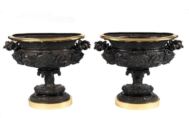 Pair of very large decorative bronze vases