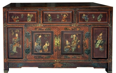 Piece of chinese furniture in lacquered wood with genre