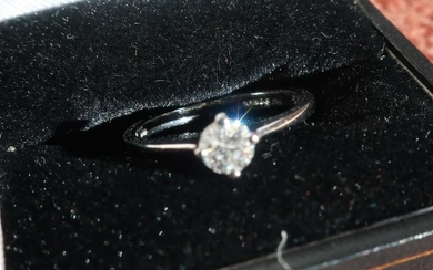 Platinum diamond solitaire ring, approx .25ct (size K 1/2)...