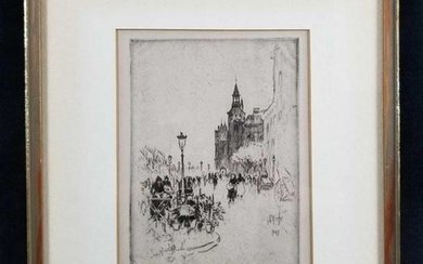 Quai Aux Fleurs Paris Framed Etching by Lester George