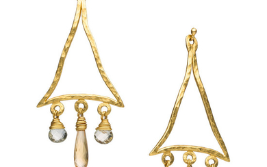 Quartz, Gold Earrings The earrings feature prasiolite and citrine...