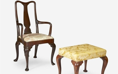 Queen Anne mahogany yoke-back armchair together with a Queen...
