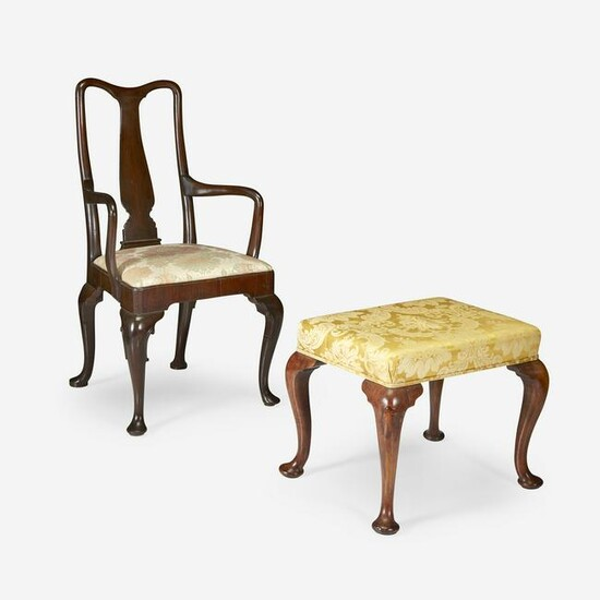 Queen Anne mahogany yoke-back armchair together with a