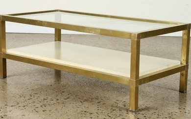 RECTANGULAR BRASS GLASS COFFEE TABLE C.1970
