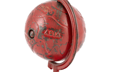 Red Globe on Arc Cast Iron Spinning Bank