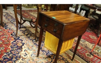 Regency Inlaid Mahogany Lady's Drop-Leaf Work Table With Fit...