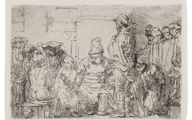 Rembrandt van Rijn (1606-1669) Christ seated disputing with the doctors