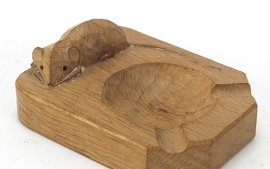 Robert Mouseman Thompson adzed oak ashtray carved with a sig...