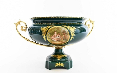 SEVRES STYLE METAL MOUNTED PORC CENTER BOWL
