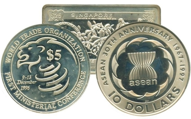 SINGAPORE Silver & Cu-Ni $10 commemorative 2 in 1 Coin