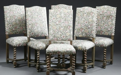Set of Six French Louis XIII Style Dining Chairs, 20th