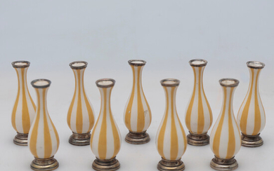 Set of nine French small vases in Sèvres-like porcelain with silver mounts, late 19th Century.
