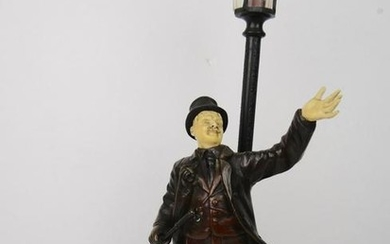 Signed French bronze gentlemen by lamp post