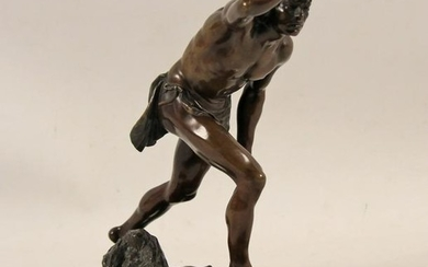 Signed French bronze sculpture of Hunter