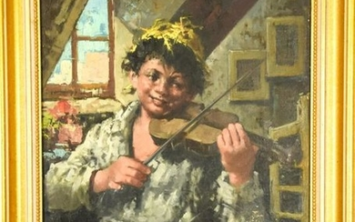 Signed Oil Painting of Boy Playing Violin
