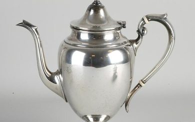 Silver coffee pot, 925/000, on a round base with curled