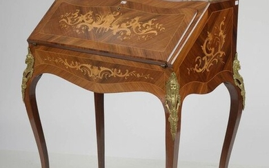 """Small Louis XV style sloping desk known as """"Dos d'âne"""" in light wood veneer with curly veneer and light wood marquetry with """"Rocaille"""" decor opening on a leaf giving on three drawers and storage space. Ornamentation and gilded bronze gallery. Period:..."""