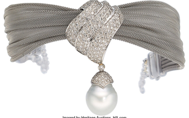 South Sea Cultured Pearl, Diamond, White Gold Convertible Necklace-Bracelet...