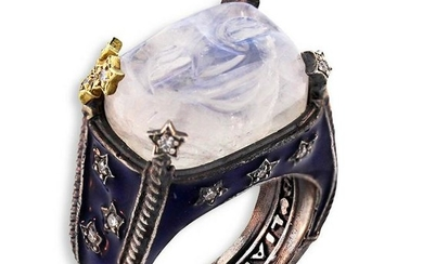 Stambolian Aged Silver & 18K Gold Ring Moon Face