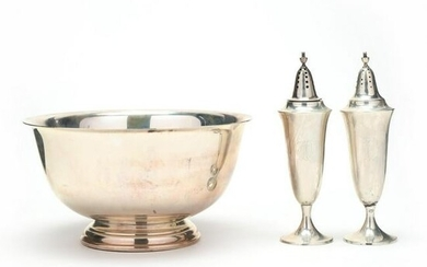 Sterling Silver Revere Bowl and a Pair of Salt & Pepper
