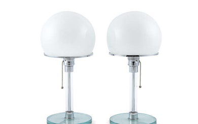 TABLE LAMPS A pair of glass table lamps...