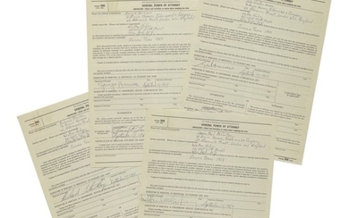 THE BEATLES | Archive related to taxation of the first Beatles tour of the United States, containing three full band signatures, and one signature from Brian Epstein, 1964