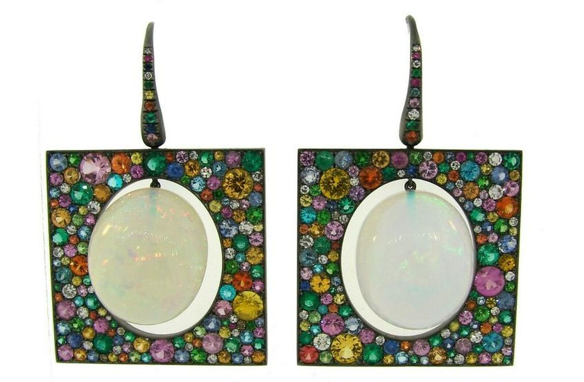 THEODOROS Opal Blackened Gold EARRINGS with