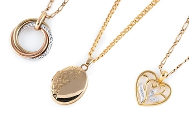 THREE 9CT GOLD PENDANT NECKLACES; all on curb link chains, one with 2 hearts, 52cm, one with a tri colour trinity pendant, 45cm, oth...