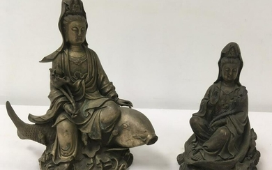 TWO CHINESE CAST WHITE METAL GUAN YIN SCULPTURES