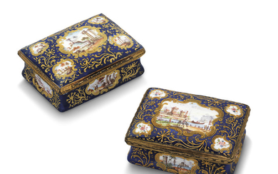 TWO GILT-METAL-MOUNTED STAFFORDSHIRE ENAMEL BOXES, LATE 18TH CENTURY