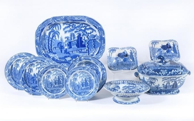 The remnants of a Job Ridgway blue and white printed 'Chinoiserie Ruins' pattern dinner service