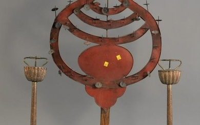 Three pricket candle holders including: a pair of metal
