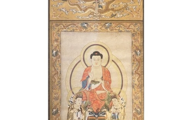 """Tibetan Thangka depicting """" Three saints of the west"""", in th..."""