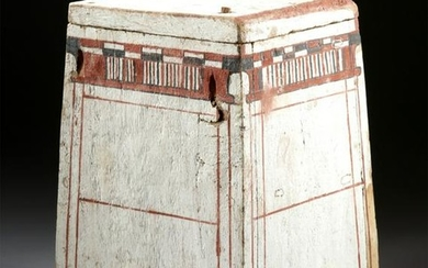 Translated Egyptian Painted Wood Canopic Box
