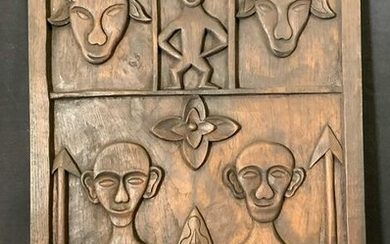Tribal Wooden Relief Panel