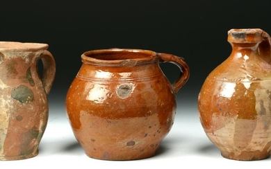 Trio of 19th C. Spanish Pottery Pouring Vessels