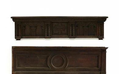 Two Large Carved Walnut Architectural Panels
