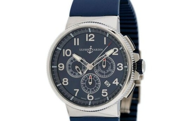 Ulysse Nardin Marine Chronograph wristwatch, men, provenance documents, stainless steel, d=43 mm / Men's Ulysse Nardin Marine Chronograph wristwatch, reference 1503-150, automatic movement, glazed back. Dark blue dial with Arabic numerals, three...