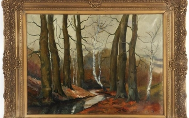Unclearly signed, Forest landscape with beech and birch