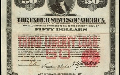 United States of America. Acts of September 24, 1917, amended April 4, 1918. $50. 4-1/4% Coupon Gold Bond of 1928-Third Liberty Loan. Ma...
