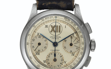 Universal. A Fine and Rare Stainless Steel Chronograph Wristwatch, SIGNED UNIVERSAL, GENÈVE, COMPAX, NO. 971'166, NO. 32412, MANUFACTURED IN 1943