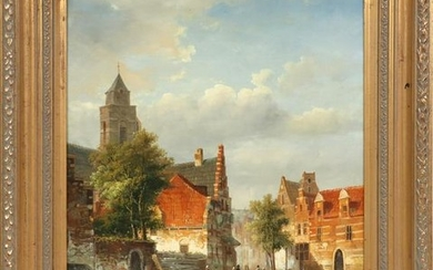 VAN DER VERN, OIL ON CANVAS, DUTCH VILLAGE