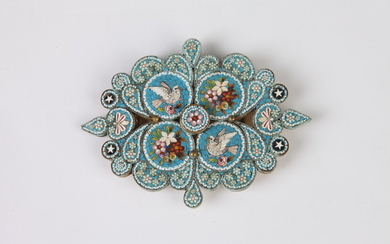VINTAGE TURQUOISE MICRO-MOSAIC BELT BUCKLE WITH DELICATE FLORAL AND BIRD...