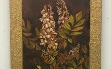Victorian Floral Painting on Wood Panel