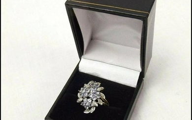 Vintage 9ct Yellow Gold Diamond & Iolite Ring UK Size M