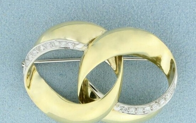 Vintage Diamond Double Circle Pin in 14K Yellow Gold