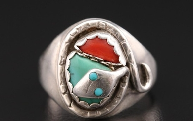 Vintage Zuni Effie Calavaza Sterling Silver Turquoise and Coral Snake Ring